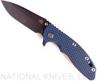 "Rick Hinderer Knives XM-18 Spanto Folding Knife, Battle Black 3.5"" Plain Edge 20CV Blade, Battle Black Lockside, Blue - Black G-10 Handle - Tri-Way Pivot"