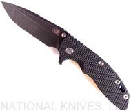 "Rick Hinderer Knives XM-18 Spanto Folding Knife, Battle Black 3.5"" Plain Edge 20CV Blade, Battle Black Lockside, Black G-10 Handle - Tri-Way Pivot"