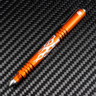 Rick Hinderer Knives Aluminum Investigator Flames Ink Pen, Matte Orange