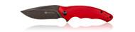 Steel Will Knives Avior Folding Knife F62-05, Blackwash D2 Plain Edge Blade, Red G-10 Handle