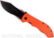 "Emerson Knives Market Skinner BTS Folding Knife, Black Partially Serrated 154CM Blade, Orange G-10 Handle, Emerson ""Wave"" Opener"