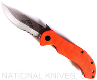 "Emerson Knives Appalachian SFS Folding Knife, Satin 3.6875"" Partially Serrated 154CM Blade, Orange G-10 Handle, Emerson ""Wave"" Opener"