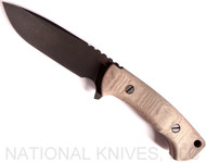 Rick Hinderer Knives The Ranch Drop Point Fixed Blade Knife, Battle Black Plain Edge Blade, Natural Micarta Handle, Leather Sheath
