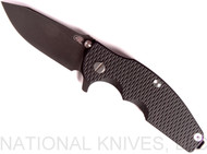 "Rick Hinderer Knives Jurassic Slicer Folding Knife, Battle Black 3.25"" Plain Edge 20CV Blade. Battle Black Lock Side, Black G-10 Handle"