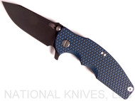 "Rick Hinderer Knives Jurassic Slicer Folding Knife, Battle Black 3.25"" Plain Edge 20CV Blade. Battle Black Lock Side, Blue - Black G-10 Handle"