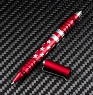 Rick Hinderer Knives Aluminum Investigator Stars and Stripes Ink Pen, Matte Red