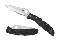 "Spyderco Endura 4 C10PSBK Folding Knife 3.812"" Saber Ground Partially Serrated Blade, Black FRN Handle"