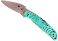 "Spyderco Endura 4 C10FPTLS30V Folding Knife, 3.812"" Plain Edge Blade, Teal FRN Handle"