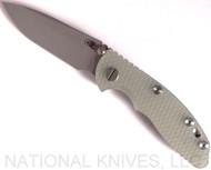 "Rick Hinderer Knives XM-18 Spearpoint Non-Flipper Folding Knife, Working Finish 3.0"" Plain Edge 20CV Blade, Working Finish Lockside, Translucent Green G-10 Handle - Tri-Way Pivot"