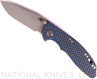 "Rick Hinderer Knives XM-18 Spearpoint Non-Flipper Folding Knife, Working Finish 3.0"" Plain Edge 20CV Blade, Working Finish Lockside, Blue-Black G-10 Handle - Tri-Way Pivot"