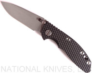 "Rick Hinderer Knives XM-18 Spearpoint Non-Flipper Folding Knife, Working Finish 3.0"" Plain Edge 20CV Blade, Working Finish Lockside, Black G-10 Handle - Tri-Way Pivot"