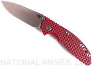 "Rick Hinderer Knives XM-18 Spearpoint Non-Flipper Folding Knife, Stonewashed 3.0"" Plain Edge 20CV Blade, Stonewashed Lockside, Red G-10 Handle - Tri-Way Pivot"