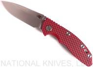 "Rick Hinderer Knives XM-18 Spearpoint Non-Flipper Folding Knife, Stonewashed 3.0"" Plain Edge 20CV Blade, Stonewashed Lockside, Red G-10 Handle - Tri-Way Pivot"