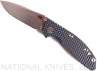 "Rick Hinderer Knives XM-18 Spearpoint Non-Flipper Folding Knife, Stonewashed 3.0"" Plain Edge 20CV Blade, Stonewashed Lockside, Blue-Black G-10 Handle - Tri-Way Pivot"
