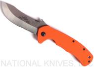 "Emerson Knives Rendezvous SFS Knife Satin 3.5"" ComboEdge 154CM Blade Orange G-10"