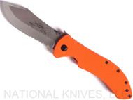 "Emerson Knives Market Skinner SFS Folding Knife, Satin Partially Serrated 154CM Blade, Orange G-10 Handle, Emerson ""Wave"" Opener"