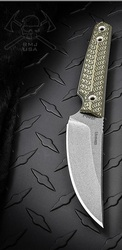 RMJ Tactical Unmei Fixed Blade Knife, Nitro-V Steel Plain Edge Blade, Dirty Olive G-10, Sheath