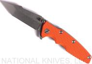 "Rick Hinderer Knives Eklipse Harpoon Tanto Folding Knife, Stonewash 3.625"" Plain Edge CPM-20CV Blade, Stonewash Lock Side, Orange G-10 Handle - Tri-Way Pivot"
