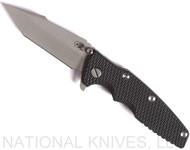 "Rick Hinderer Knives Eklipse Harpoon Tanto Folding Knife, Working Finish 3.625"" Plain Edge CPM-20CV Blade, Working Finish Lock Side, Black G-10 Handle - Tri-Way Pivot"