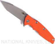 "Rick Hinderer Knives Eklipse Harpoon Tanto Folding Knife, Working Finish 3.625"" Plain Edge CPM-20CV Blade, Working Finish Lock Side, Orange G-10 Handle - Tri-Way Pivot"