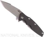 "Rick Hinderer Knives Eklipse Harpoon Tanto Folding Knife, Working Finish 3.625"" Plain Edge CPM-20CV Blade, Battle Blue Lock Side, Black G-10 Handle - Tri-Way Pivot"