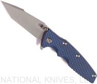 "Rick Hinderer Knives Eklipse Harpoon Tanto Folding Knife, Working Finish 3.625"" Plain Edge CPM-20CV Blade, Battle Blue Lock Side, Blue - Black G-10 Handle - Tri-Way Pivot"