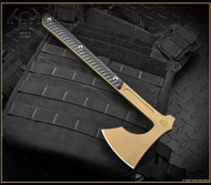 "RMJ Tactical 3V SYNDICATE Raven Tomahawk, 3.45"" Forward Edge CPM-3V Burnt Bronze Cerakote Finish, Black G-10 Handle"