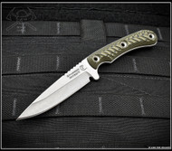 "RMJ Tactical Sparrow Fixed Blade Knife, Stonewashed 3.5"" Plain Edge Nitro-V Blade, Dirty Olive G-10, Kydex Sheath"
