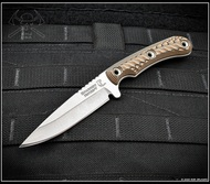 "RMJ Tactical Sparrow Fixed Blade Knife, Stonewashed 3.5"" Plain Edge Nitro-V Blade, Hyena Brown G-10, Kydex Sheath"