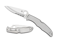 "Spyderco Endura 4 C10PS Folding Knife, 3.781"" Partially Serrated Blade, Stainless Steel Handle"