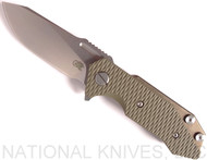 Rick Hinderer Knives Half Track Slicer Folding Knife, Stonewashed CPM-20CV Plain Edge Blade, Stonewash Bronze Lock Side, OD Green G-10 - Tri-Way Pivot