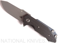 Rick Hinderer Knives Half Track Slicer Folding Knife, Working Finish CPM-20CV Plain Edge Blade, Battle Blue Lock Side, Black G-10 - Tri-Way Pivot
