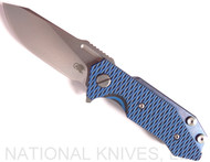 Rick Hinderer Knives Half Track Slicer Folding Knife, Stonewashed CPM-20CV Plain Edge Blade, Stonewash Blue Lock Side, Blue - Black G-10 - Tri-Way Pivot