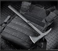 "RMJ Tactical Eagle Talon Blackout Tomahawk, Black 2.937"" Forward Edge 80CRV2, Black Handle, Sheath"
