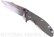 "Rick Hinderer Knives XM-18 Harpoon Spanto Folding Knife, Stonewashed 3.5"" Plain Edge CPM-20CV Blade, Stonewashed Lockside, OD Green - Black G-10 Handle - Tri-Way Pivot"