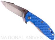 "Rick Hinderer Knives XM-18 Harpoon Spanto Folding Knife, Stonewashed 3.5"" Plain Edge CPM-20CV Blade, Stonewashed Blue Lockside, Blue G-10 Handle - Tri-Way Pivot"