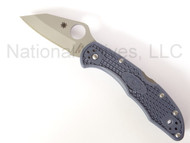 "Spyderco Kahr Arms Delica C11KAPDB Folding Knife, 2.5"" Plain Edge VG-10 Blade, Denim Blue FRN Handle"