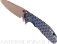 Rick Hinderer Knives XM-24 Sheepsfoot Flipper Knife, Working Finish CPM-20CV  Plain Edge Blade, Battle Blue Lockside, Blue-Black G-10 Handle - Tri-Way Pivot