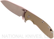 Rick Hinderer Knives XM-24 Sheepsfoot Flipper Knife, Working Finish CPM-20CV  Plain Edge Blade, Battle Bronze Lockside, OD Green G-10 Handle - Tri-Way Pivot