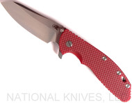 Rick Hinderer Knives XM-24 Sheepsfoot Flipper Knife, Stonewashed CPM-20CV  Plain Edge Blade, Stonewash Lockside, Red G-10 Handle - Tri-Way Pivot