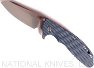 Rick Hinderer Knives XM-24 Sheepsfoot Flipper Knife, Stonewashed CPM-20CV  Plain Edge Blade, Stonewash Blue Lockside, Blue - Black G-10 Handle - Tri-Way Pivot