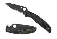 "Spyderco Endura 4 C10PSBBK Folding Knife, Black 3.812"" Partially Serrated Edge Blade, Black FRN Handle"
