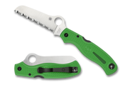 "Spyderco Atlantic Salt C89FSGR Folding Knife, 3.687"" Serrated Edge LC 200 N Blade, Green FRN Handle"