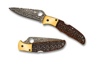 "Spyderco Endura 4 C10JBOP Sprint Run Folding Knife, 3.812"" Plain Edge Damascus Blade, Orange Jigged Bone Handle"