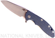 "Rick Hinderer Knives XM-18 SKINNY Sheepsfoot Folding Knife, Working Finish 3.5"" Plain Edge 20CV Blade, Battle Blue Lockside, Blue - Black G-10 Handle - Tri-Way Pivot"