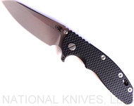 "Rick Hinderer Knives XM-18 SKINNY Sheepsfoot Folding Knife, Stonewash 3.5"" Plain Edge 20CV Blade, Stonewash Bronze Lockside, Black G-10 Handle - Tri-Way Pivot"