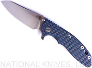 "Rick Hinderer Knives XM-18 SKINNY Sheepsfoot Folding Knife, Stonewash 3.5"" Plain Edge 20CV Blade, Stonewash Blue Lockside, Blue - Black G-10 Handle - Tri-Way Pivot"
