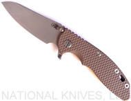 "Rick Hinderer Knives XM-18 SKINNY Sheepsfoot Folding Knife, Working Finish 3.5"" Plain Edge 20CV Blade, Battle Bronze Lockside, FDE G-10 Handle - Tri-Way Pivot"