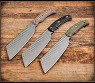 RMJ Tactical Da Choppa Fixed Blade Knife, Tungsten Gray 80CRV2 Plain Edge Blade, Hyena Brown G-10, Kydex Sheath