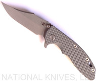 "Rick Hinderer Knives XM-18 Bowie Folding Knife, Working Finish 3.5"" Plain Edge 20CV Blade, Working Finish Lock Side, Grey G-10 Handle - Tri-Way Pivot"